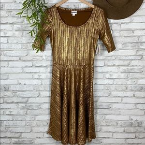 LuLaRoe Nicole Brown and Gold dress size small